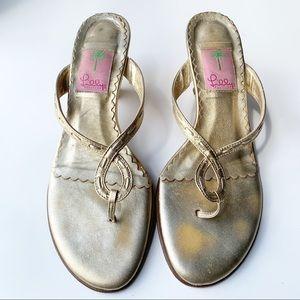 Lilly Pulitzer gold sandal heels sz 8M